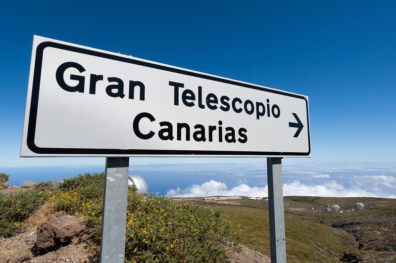 Sign at Gran Telescopio Canarias in La Palma, Spain