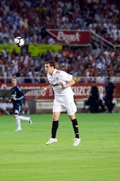 Sebastien Squillaci heading the ball. Spanish League game between Sevilla FC and Real Madrid, Sanchez Pizjuan Stadium, Seville, Spain, 4 October 2009