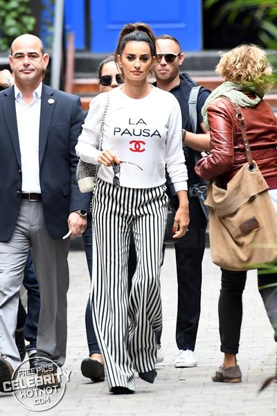 Penelope Cruz Wears A 'LA PAULA' Chanel Maritme Sweater In Toronto, Canada