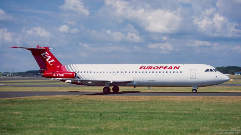 G-AYOP. BAC 111-530FX One-Eleven. European Air Charter. Prestwick. July. 1995.