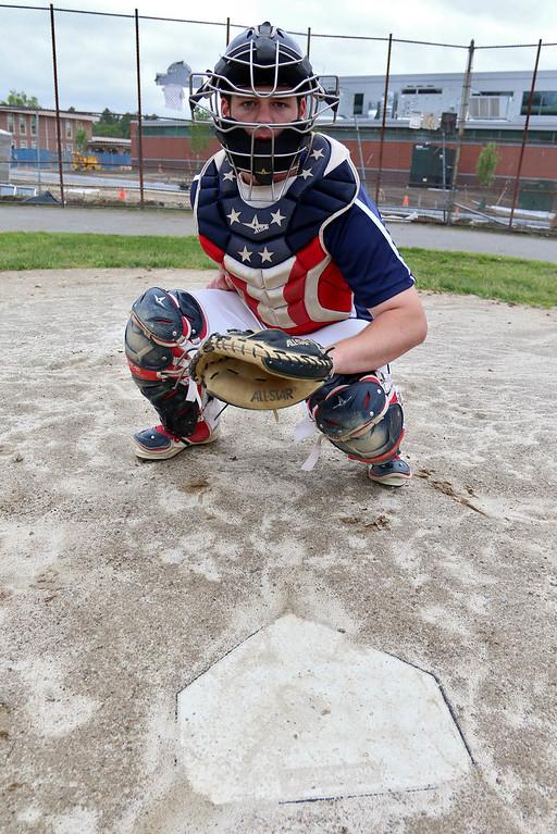. North Middlesex Regional star baseball pitcher/catcher Pat Aubuchon. SUN/JOHN LOVE