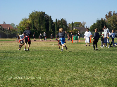 Blake's second flag-football game. 10-13-07