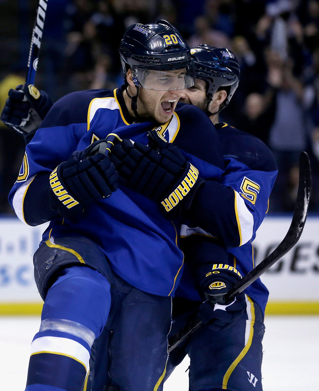 . St. Louis Blues\' Alexander Steen, front, is congratulated by Barret Jackman after scoring during the second period in Game 5 of a first-round NHL hockey Stanley Cup playoff series against the Los Angeles Kings on Wednesday, May 8, 2013, in St. Louis. (AP Photo/Jeff Roberson)