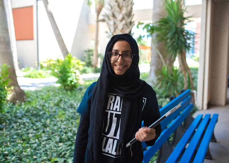 Islander student, Bushra Ijaz stops for a picture before she heads off to study for her classes.