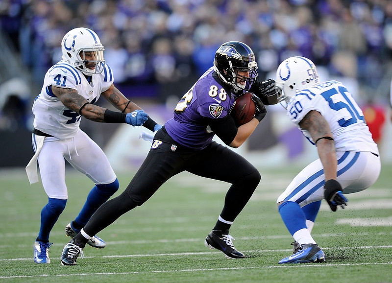 . Baltimore Ravens tight end Dennis Pitta (88) tries to get away from Indianapolis Colts free safety Antoine Bethea (41) and inside linebacker Jerrell Freeman (50) during the first half of an NFL wild card playoff football game Sunday, Jan. 6, 2013, in Baltimore. (AP Photo/Nick Wass)