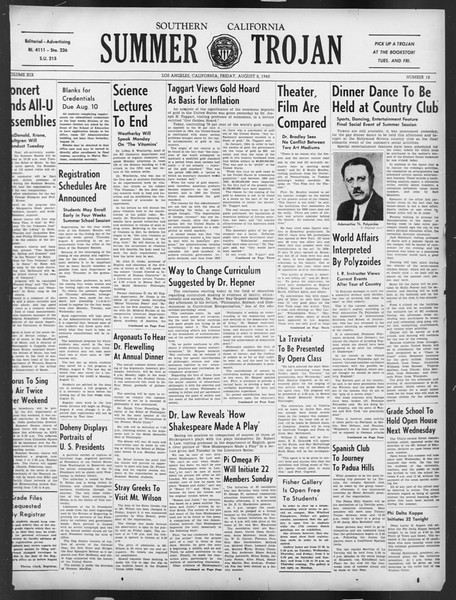 Summer Trojan, Vol. 19, No. 12, August 02, 1940