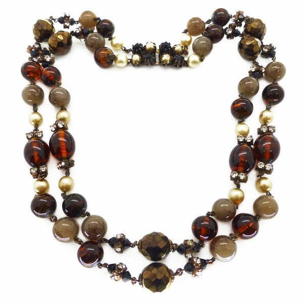 Vintage 1960 Christian Dior Amber & Brown Glass Pearl Bead Necklace