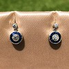 1.00ctw Old Mine Cut and Sapphire Target Dangle Earings 0