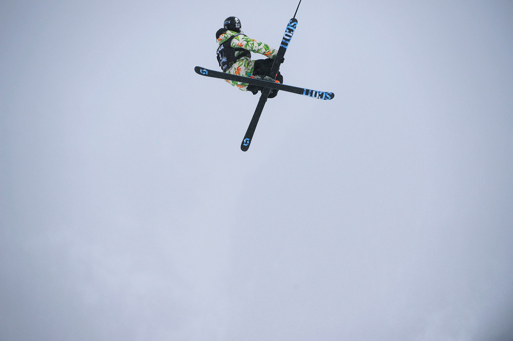 . Thomas Wallisch, USA, launches of the third jump during his first run of the U.S. Grand Prix slope style finals at the Copper Mountain ski area Saturday afternoon, December 21, 2013.  (Photo By Andy Cross / The Denver Post)