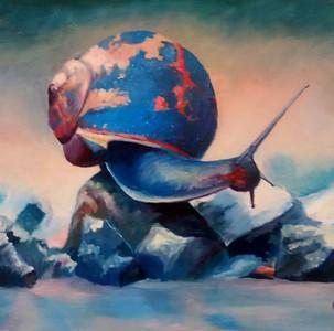 """Colorful Snail"" (oil on canvas) by Nelya Hapchyn"