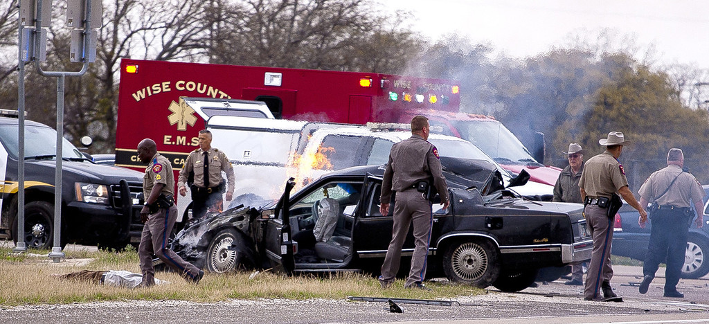 . A high speed pursuit that started with a deputy getting shot in Montague County ended with law enforcement and the suspect exchanging gunfire at a busy highway intersection in Decatur. The chase began at the intersection of U.S. 287 and and Highway 59 in Bowie. Montague County Sheriff Deputy James Boyd stopped the suspect, who was driving a black Cadillac with Colorado plates, on a routine traffic stop. During the stop, the suspect opened fire on the deputy, hitting him twice in the chest and once in the head. Montague County District Attorney Paige Williams said the deputy was in stable condition as of this afternoon. (Wise County Messenger/Jimmy Alford)