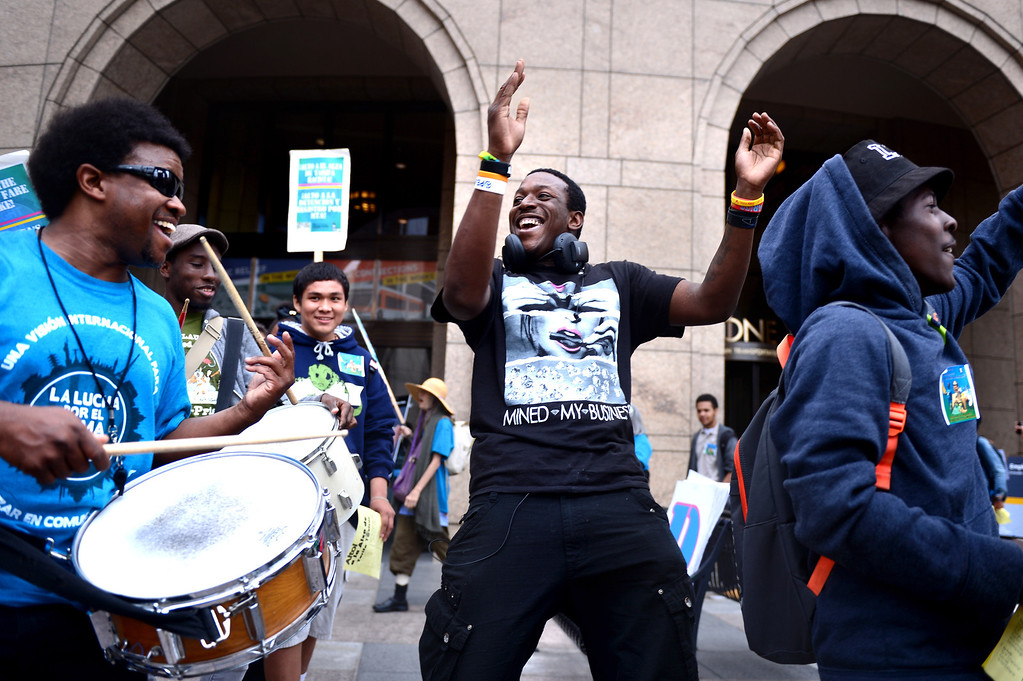 . The Bus Riders Union leads a protest before the MTA board meeting voted for a major fare increase Thursday, May 22, 2014. The increase will effect 500,000 riders of trains, subways and buses in Los Angeles County. Students rates will not increase. (Photo by Sarah Reingewirtz/Pasadena Star-News)