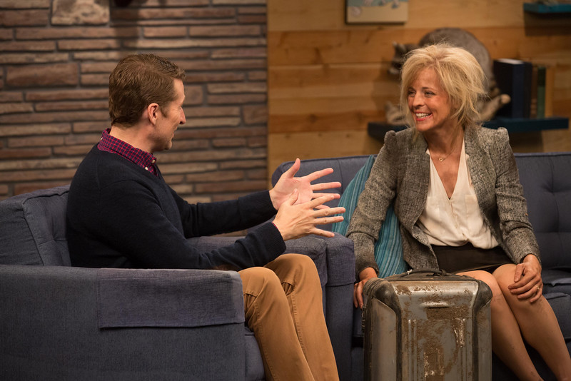 . Scott Aukerman and Maria Bamford (Claire) in Comedy Bang! Bang! (Photo by Chris Ragazzo/IFC©2014)