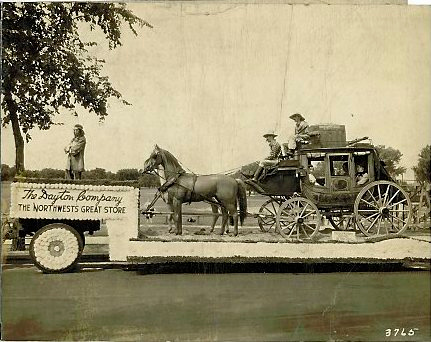 "Description of . The little treasures Writes JOAN TSCHIDA: ""Another Dayton's float from the Pepin family collection: Great Northern stagecoach — fun to share."""