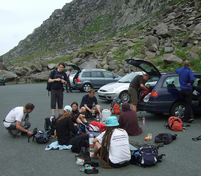 Brief pit-stop at Lake Ogwen carpark. The car carried water, food and fresh mountain guides! Photo: Lupine Adventure.