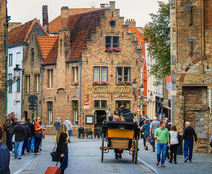 Carriage rides are  prominent feature in Bruges.