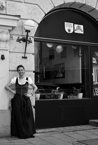 Munich. A lady in traditional Bavarian dress