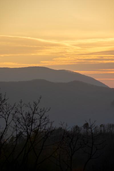 dramatic sunset over the great smoky mountain national park from baskins creek trail