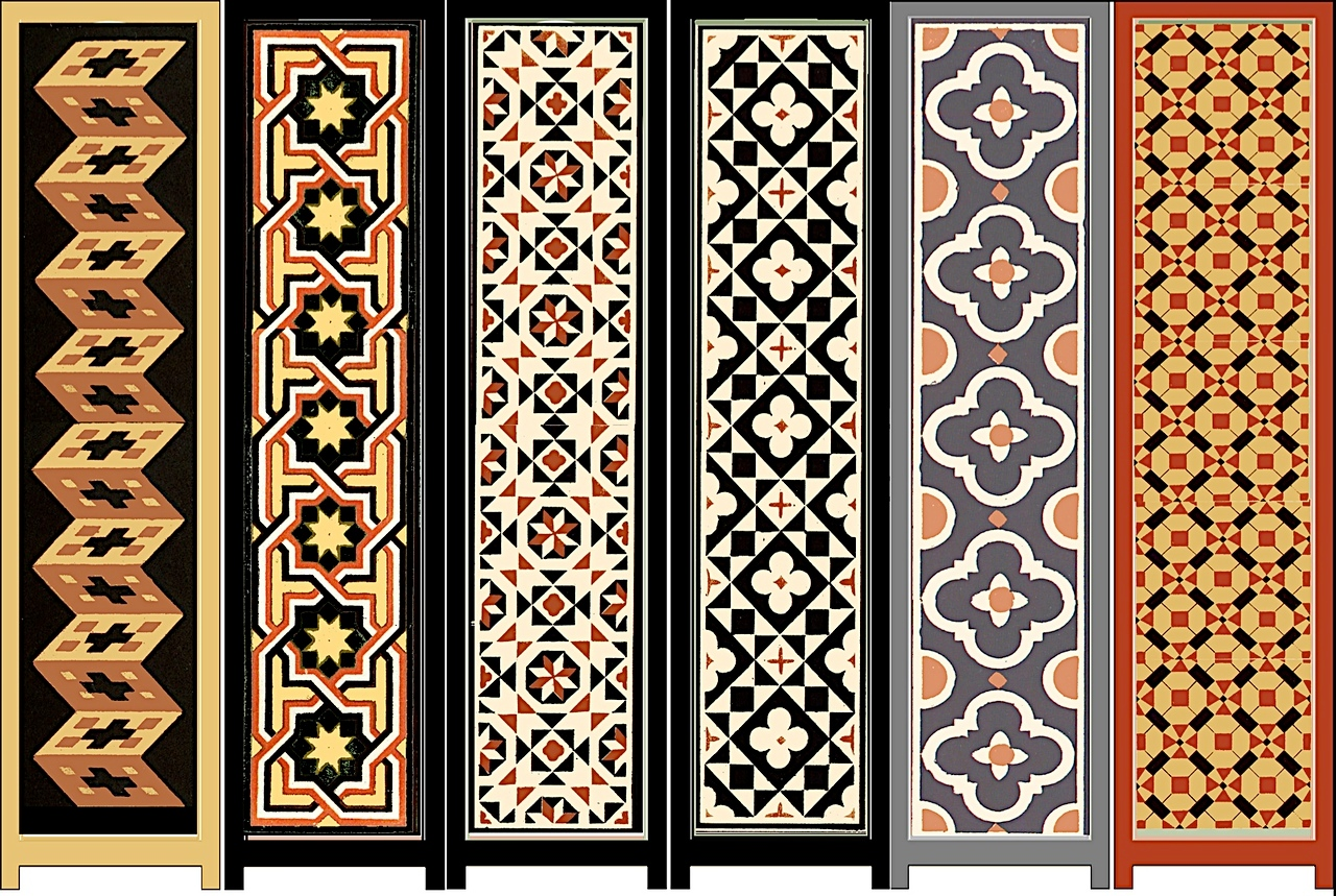 Designs for panels of folding screens, based on Arabic and Italian patterns