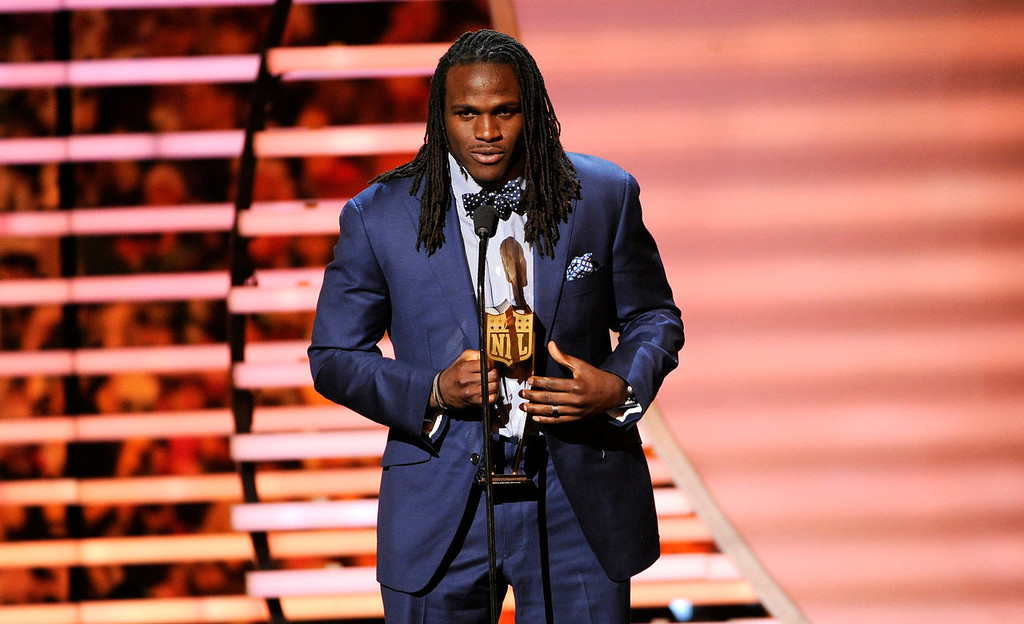 . Jamaal Charles of the Kansas City Chiefs accepts the award for NFL.com Fantasy Player of the Year, at the third annual NFL Honors at Radio City Music Hall on Saturday, Feb. 1, 2014, in New York. (Photo by Evan Agostini/Invision for NFL/AP Images)