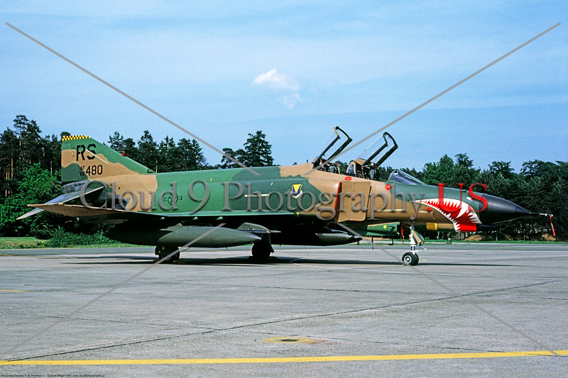 F-4E-USAF-RS 001 A static, freshly painted, large sharkmouth, McDonnell Douglas F-4E Phantom II, USAF multi role jet fighter, 68480, 86th TFW 526 TFS, RS code, Ramstein 6-1983, military airplane picture by Scott Wilson     Dt.jpg