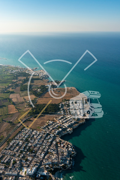 Aerial image of the coastline near Torre dell'Orso in Italy