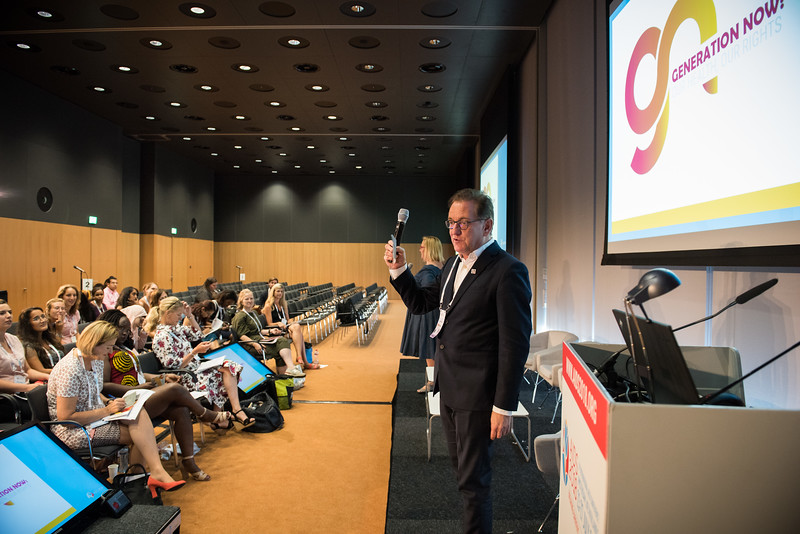 22nd International AIDS Conference (AIDS 2018) Amsterdam, Netherlands   Copyright: Marcus Rose/IAS  Photo shows: Generation Now: Our health, Our Rights. Closing Session: Group Commitments Katja Iversen, Women Deliver, United States Kevin Osborne, International AIDS Society (IAS), Switzerland