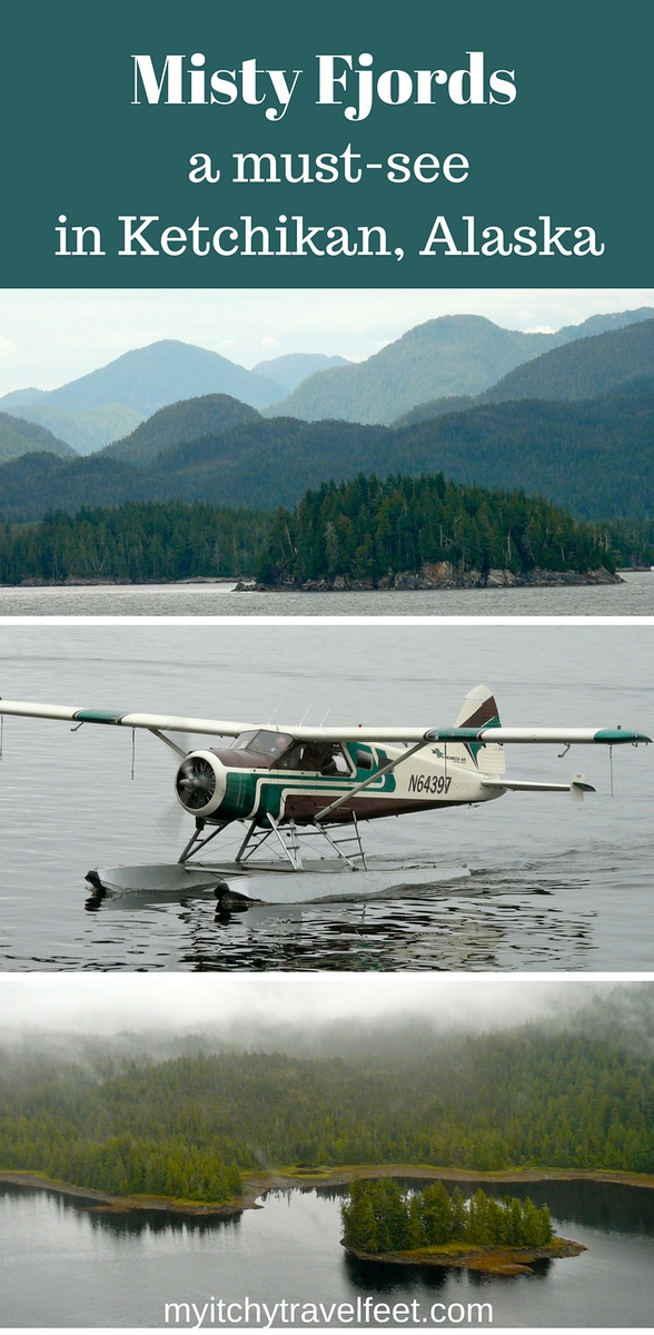 Collage of mountains surrounding Misty Fjords, seaplane landing on the water and mist over the landscape of Misty Fjords National Monument in Ketchikan, Alaska.