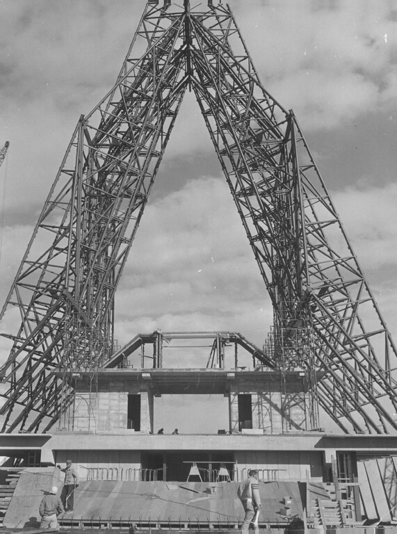 . View of Steel Structure For Chapel As Seen From South End. Concrete structure in foreground will be chapel entrance. Ceiling of the chapel will be 112 feet above ground. 1960. The Denver Post Library Archive