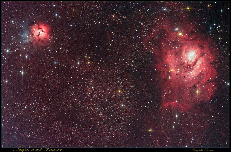 Trifid and Lagoon Nebulas in Sagittarius