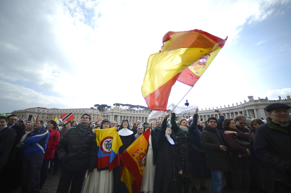 . Nuns cheer during Pope Benedict XVI last Angelus Prayer in St. Peter\'s Square at the Vatican on February 24, 2013.  FILIPPO MONTEFORTE/AFP/Getty Images