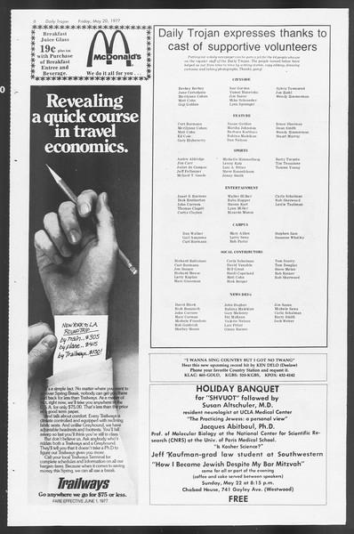 Daily Trojan, Vol. 71, No. 64, May 20, 1977