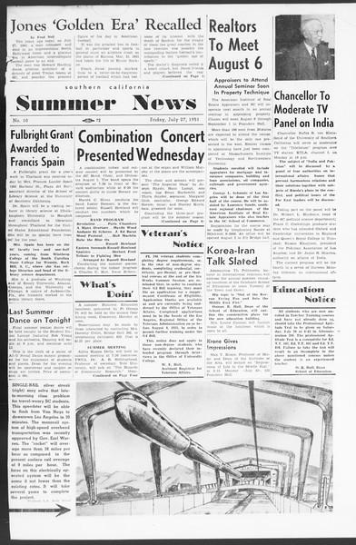 Summer News, Vol. 6, No. 10, July 27, 1951