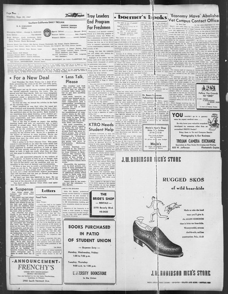 Daily Trojan, Vol. 39, No. 11, September 29, 1947