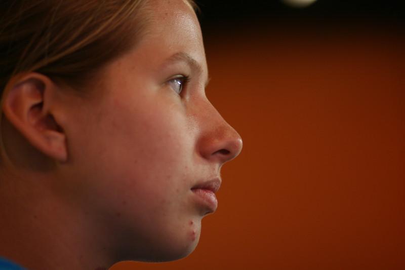 Abby inside Loco Coco's Tacos.