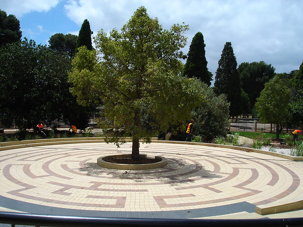 circular maze of coloured brick around tree
