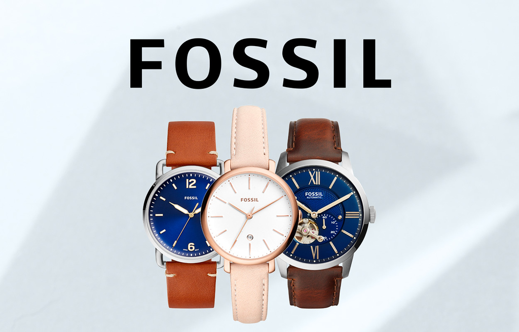 Fossil brand logo and sample products (photo credit: American Swiss Australia)