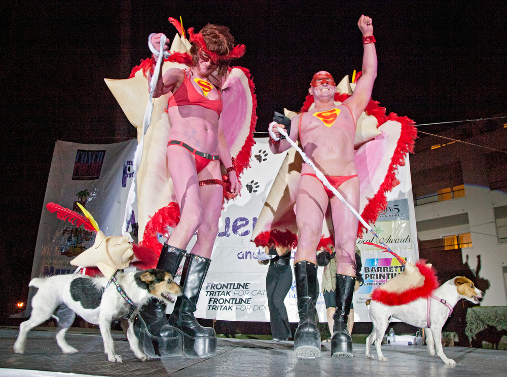 . In this Wednesday, Oct. 24, 2012, photo provided by the Florida Keys News Bureau, ìSuper Conchsî Stacy Czerwinski, left, and Tim Donald, parade dogs Isabella, left, and Charlotte, right, on stage during the Fantasy Fest Pet Masquerade in Key West, Fla. All four were costumed as conch shells, the symbol of the Florida Keys. The event was part of the islandís annual Fantasy Fest costuming and masking festival set to continue through Sunday, Oct. 28. (AP Photo/Florida Keys News Bureau, Carol Tedesco)