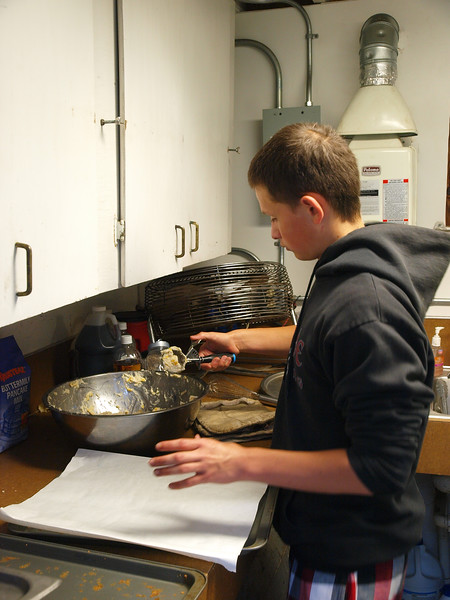 Biscuits being prepped by Kyle Claeys (support youth)