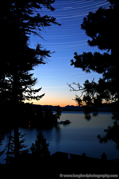 The skies above Flathead Lake in the summer can be amazingly clear.  In this shot, a long exposure shows the streaks of the stars as the earth turns.