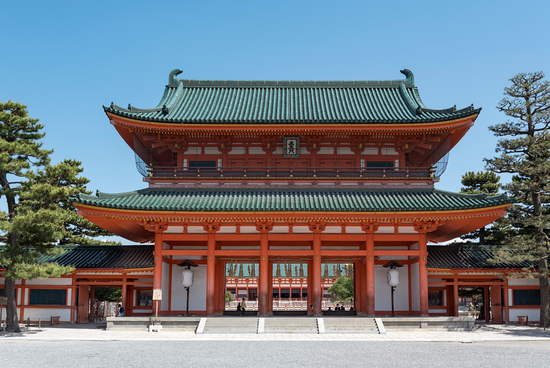 Main gate of Heian Jingu, Shinto Shrine, Kyoto, Japan