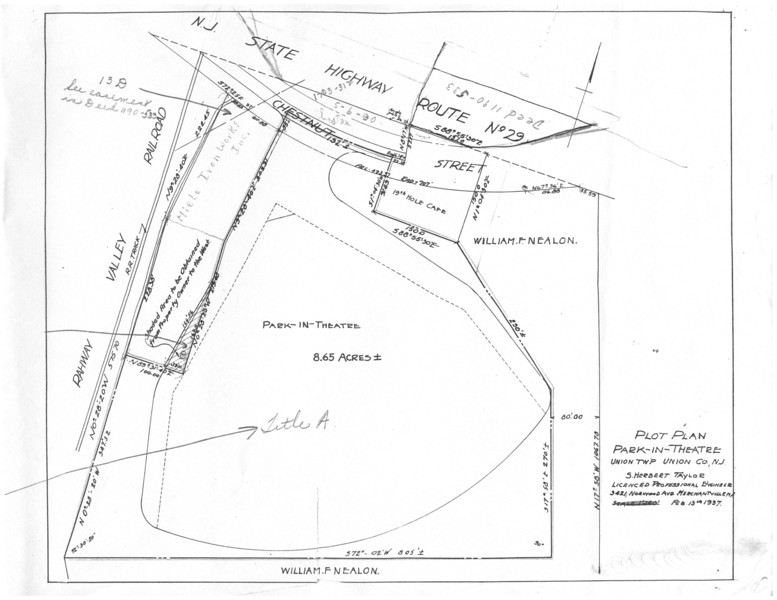 Plan for the Union Drive In Theater