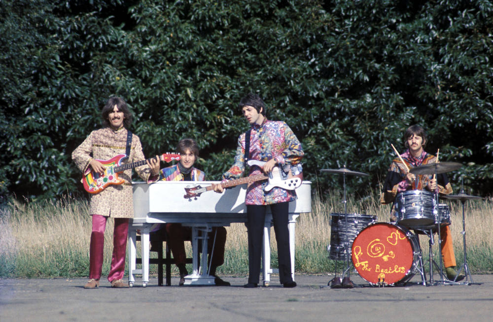 . The Beatles perform \'I Am The Walrus\' for the film Magical Mystery Tour. West Malling Air Station, Kent, England. 20th September 1967. credit © Apple Films Ltd.