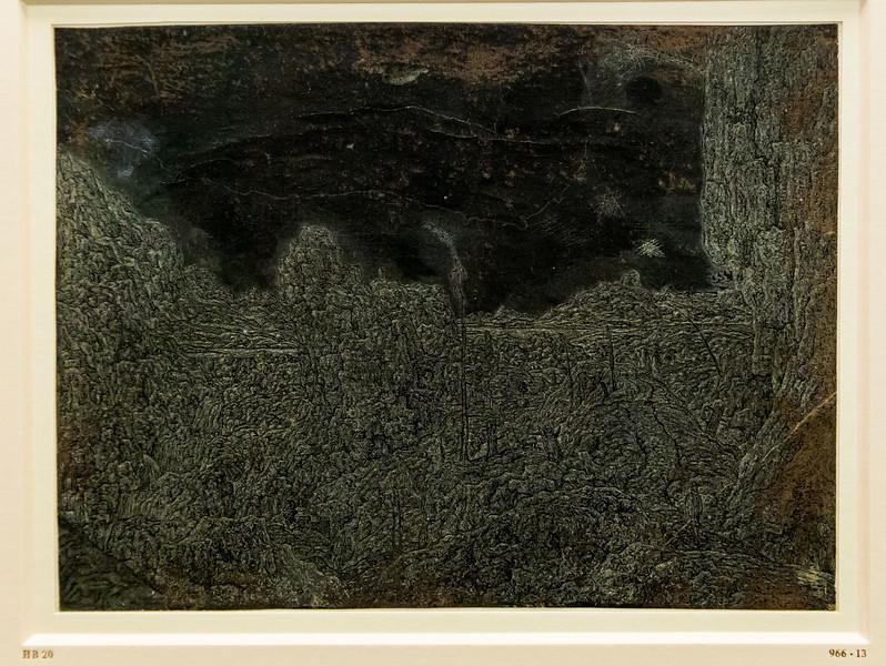 Hercules Seghers: Die felsige Landschaft mit dem Spaziergänger [um 1620/30, Kupferstichkabinett Berlin]