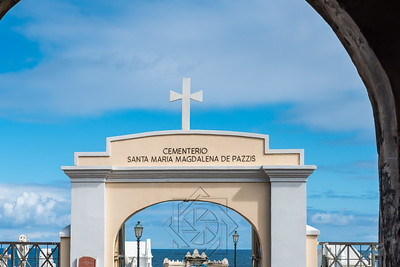 Archway entrance to the cemetery along the ocean in San Juan