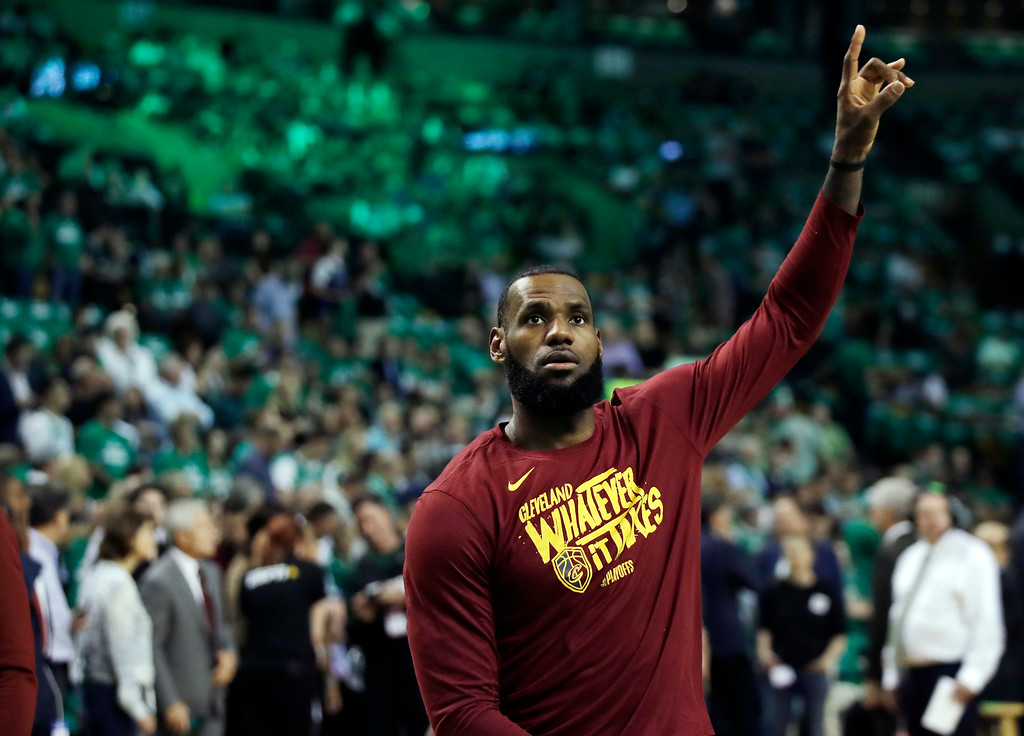 . Cleveland Cavaliers forward LeBron James warms up before Game 5 of the NBA basketball Eastern Conference Finals against the Boston Celtics, Wednesday, May 23, 2018, in Boston. (AP Photo/Charles Krupa)