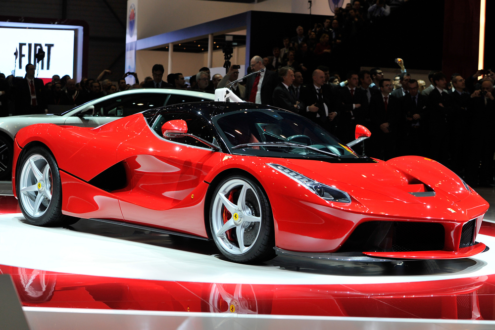 . The new La Ferrari hybrid is unveiled in World premiere during the 83rd Geneva Motor Show on March 5, 2013 in Geneva, Switzerland. Held annually the Geneva Motor Show is one of the world\'s five most important auto shows with this year\'s event due to unveil more than 130 new products.  (Photo by Harold Cunningham/Getty Images)