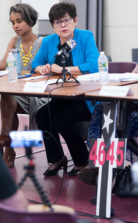 07/09/18 Wesley Bunnell | Staff A forum was held on Monday evening at the Samuel Arroyo Center in Pope Park in Hartford to discuss the impacts of last year's Hurricane Maria on Puerto Rico. Connecticut has the largest number of residents from Puerto Rico in New England. CCSU President Zulma Toro, 2nd L, speaks to attendees while a sign bearing 4645 sits in front of the table. That number is the actual number claimed to represent the the deaths linked to the hurricane and its after effects on the island.