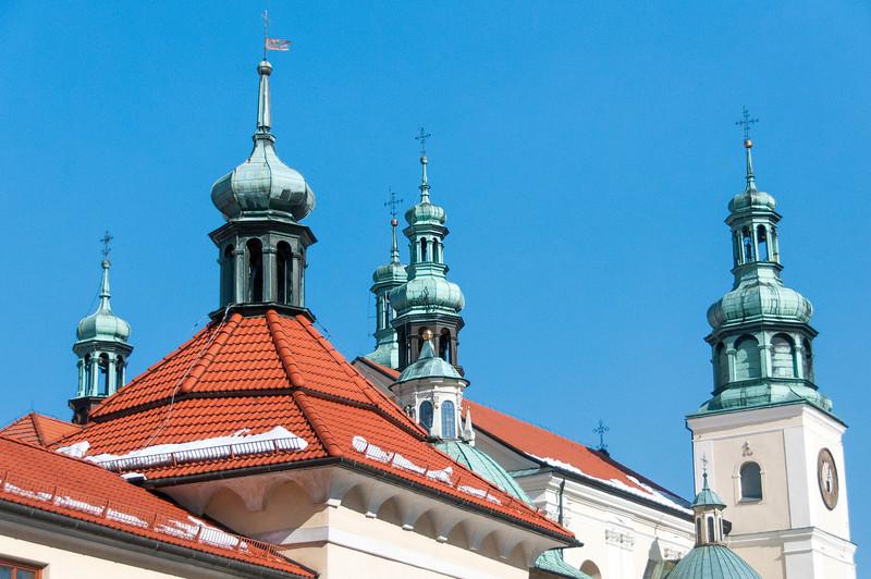 Domes and bell towers at the Kalwaria Zebzrydowska Monastery