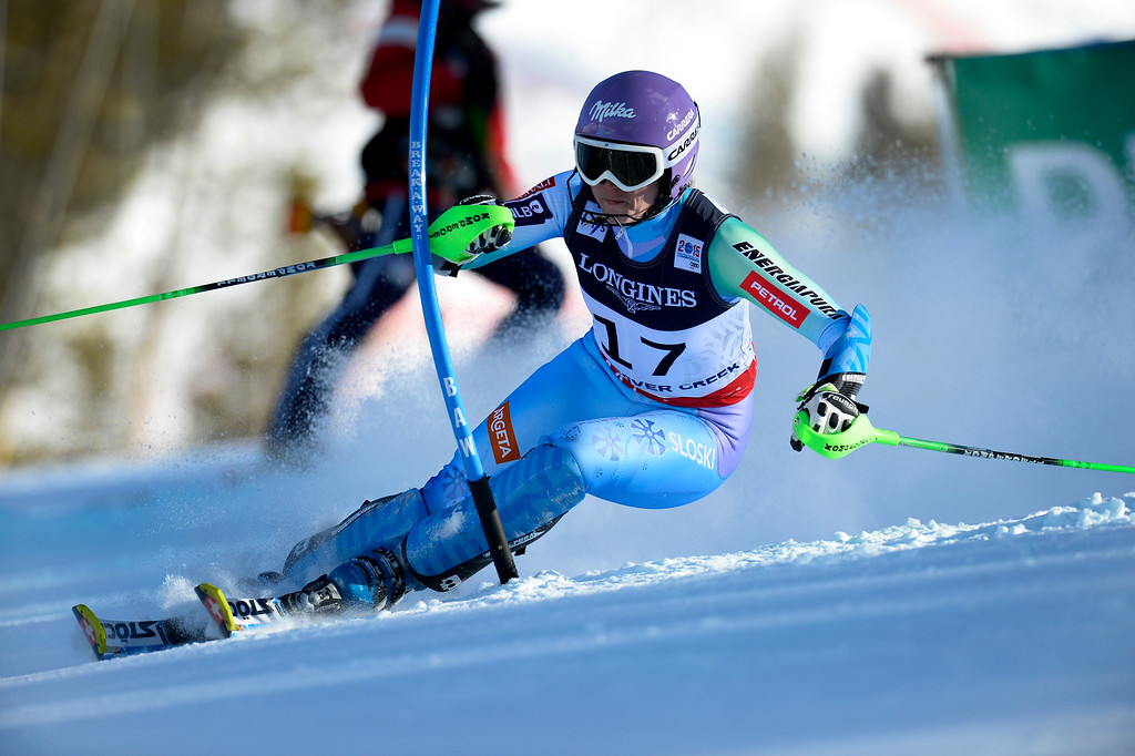 . BEAVER CREEK, CO - FEBRUARY 9: Tina Maze, of Slovenia,  competes in the Women\'s slalom portion of the women\'s alpine combined race at the FIS Alpine World Ski Championships in Beaver Creek, CO. February 9, 2015. She took home the gold. (Photo By Helen H. Richardson/The Denver Post)